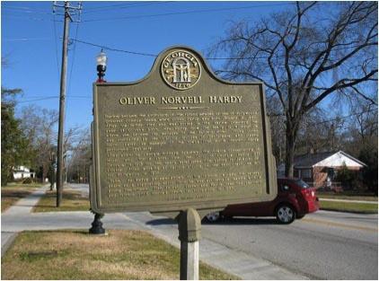 Oliver Hardy Town Marker, Harlem Georgia