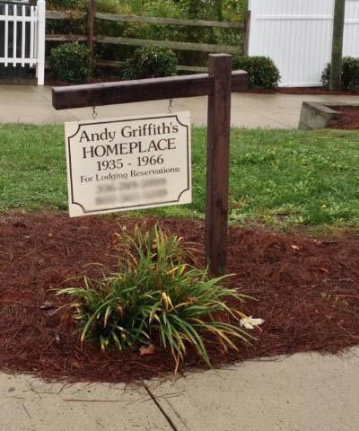 Andy Griffith Boyhood Home in Mount Airy North Carolina front sign