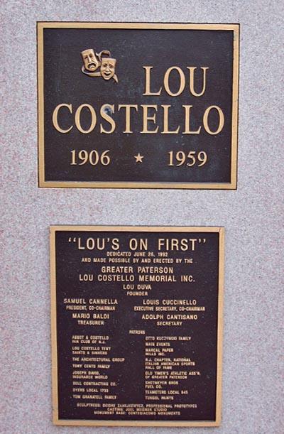 Lou Costello Statue Patterson NJ